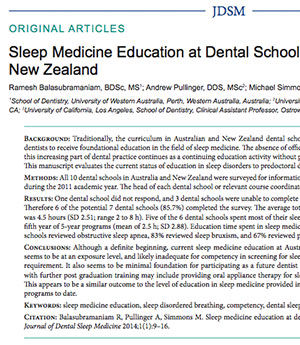 Text -Sleep Medicine Education in New Zealand